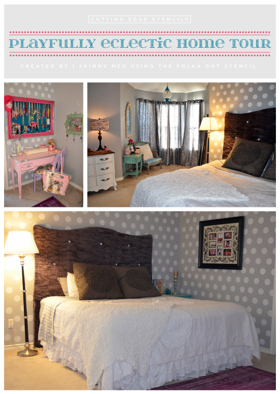 Stenciled grey master bedroom uses the Polka Dot Stencil from Cutting Edge Stencils. http://www.cuttingedgestencils.com/polka-dots-stencils-nursery.html