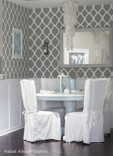 A stenciled dining nook using the Rabat Allover Stencil from Cutting Edge Stencils. http://www.cuttingedgestencils.com/moroccan-stencil-pattern-3.html