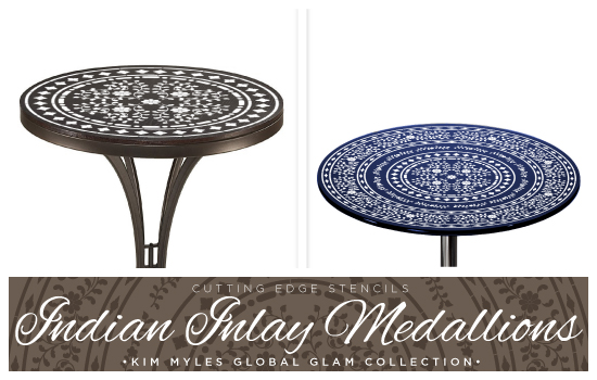 New Round Indian Inlay Medallion pattern designed by Kim Myles in her Global Glam Collection. http://www.cuttingedgestencils.com/kim-myles.html