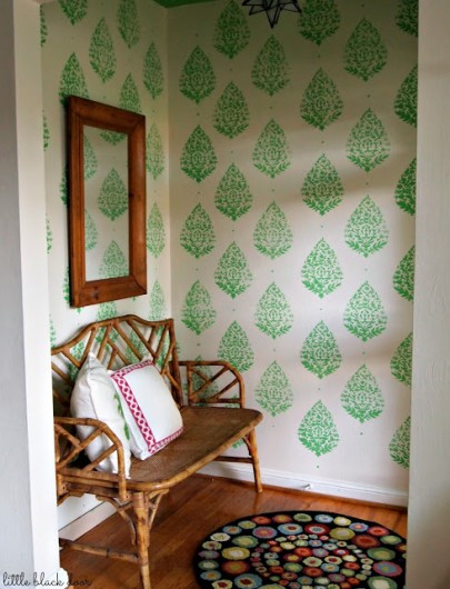 A stenciled entryway using our Sari Paisley stencil and Benjamin Moore's Lucky Shamrock green. http://www.cuttingedgestencils.com/sari-paisley-allover-stencil.html