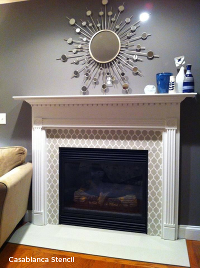 Mantels Fireplaces And Cozy Stenciled D 233 Cor Stencil