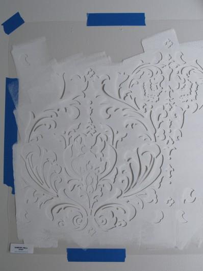 Stenciling the Anna Damask pattern from Cutting Edge Stencils. http://www.cuttingedgestencils.com/damask-stencil.html