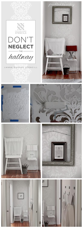 Use the Anna Damask stencil pattern from Cutting Edge Stencils in gray and white to brighten a hallway. http://www.cuttingedgestencils.com/damask-stencil.html