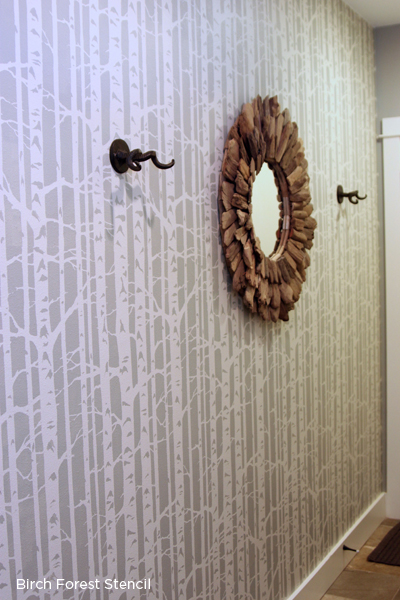 A stenciled accent wall in an entryway using the Birch Forest Stencil from Cutting Edge Stencils. http://www.cuttingedgestencils.com/allover-stencil-birch-forest.html