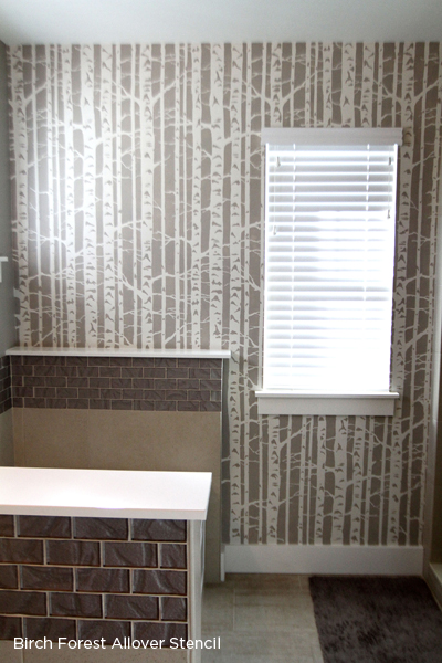 A stenciled accent wall using the Birch Forest Stencil from Cutting Edge Stencils. http://www.cuttingedgestencils.com/allover-stencil-birch-forest.html