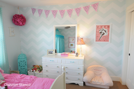 A stenciled accent wall using the Chevron Stencil from Cutting Edge Stencils to fancy up a little girl's bedroom. http://www.cuttingedgestencils.com/chevron-stencil-pattern.html