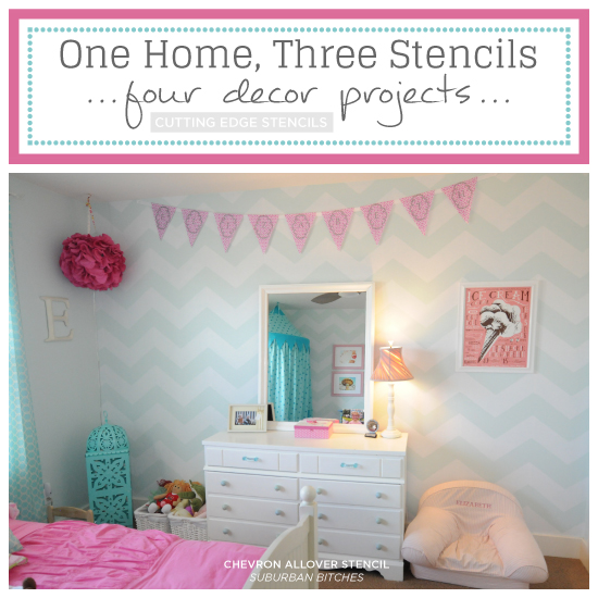 Cutting Edge Stencils shares one home featuring three stencils and four stenciled home decor projects. http://www.cuttingedgestencils.com/chevron-stencil-pattern.html