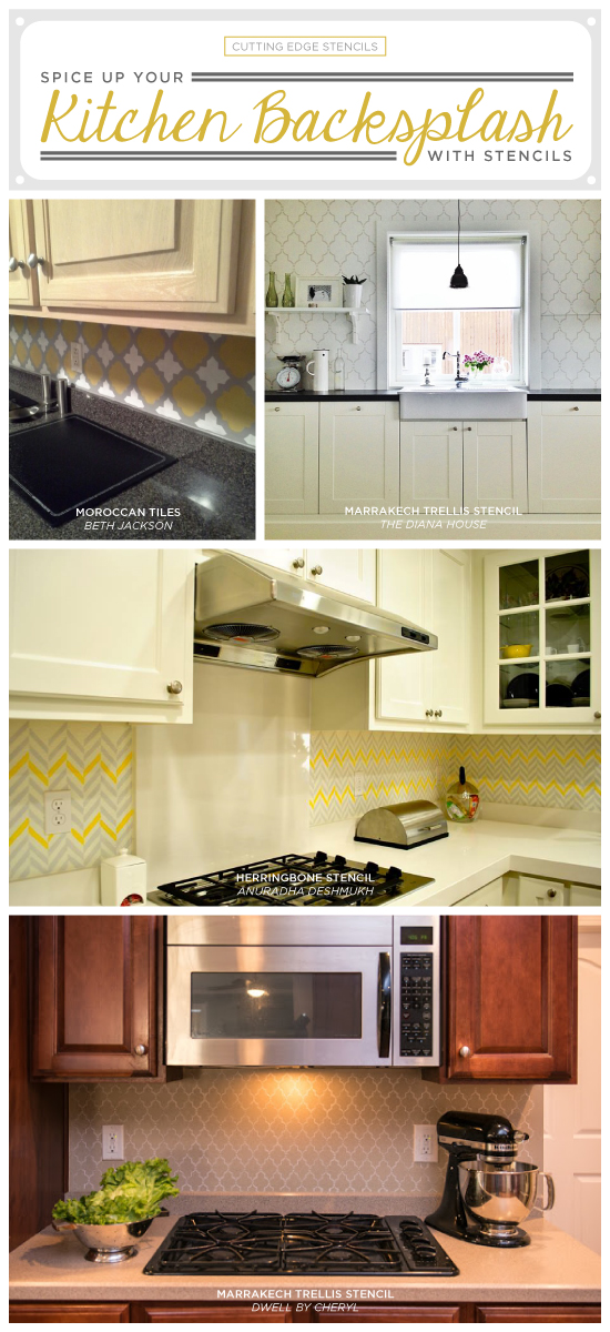 Cutting Edge Stencils Shares Stenciled Kitchen Backsplash Ideas As An Easy Mini Makeover Project