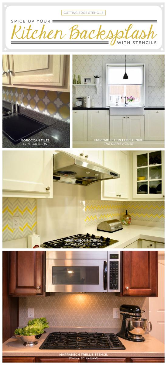 Cutting Edge Stencils shares stenciled kitchen backsplash ideas as an easy mini-makeover project. http://www.cuttingedgestencils.com/craft-furniture-stencils.html