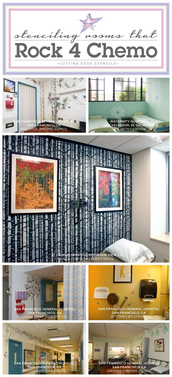 Cutting Edge Shares stenciled hospital rooms done by Rooms that Rock 4 Chemo. http://www.cuttingedgestencils.com/wall-stencils-stencil-designs.html