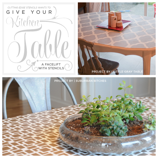 Cutting Edge Stencils shares painted and stenciled tables. http://www.cuttingedgestencils.com/geometric-small-stencil.html