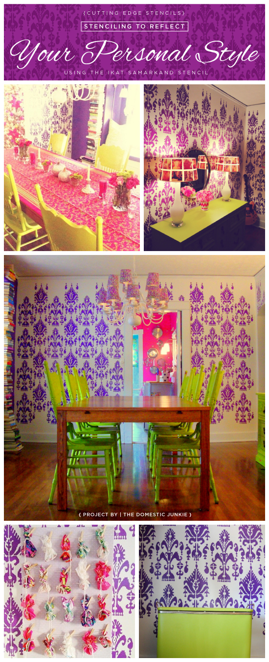 Stenciled dining room using the Ikat Samarkand pattern in purple. http://www.cuttingedgestencils.com/ikat-stencil-uzbek.html