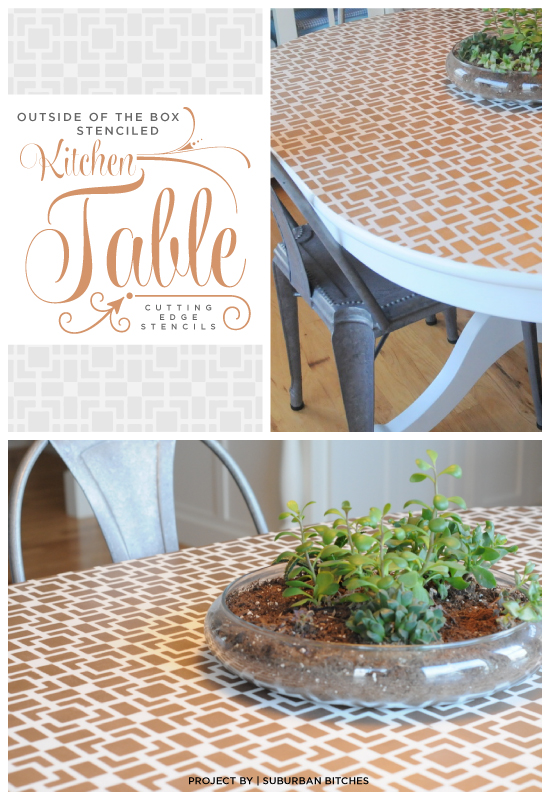 A gold stenciled table that uses the Outside the Box stencil from Cutting Edge Stencils. http://www.cuttingedgestencils.com/geometric-small-stencil.html