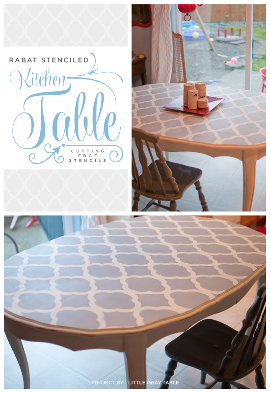 A gray stenciled table that uses the Rabat stencil from Cutting Edge Stencils. http://www.cuttingedgestencils.com/rabat-furniture-fabric-stencil.html