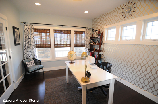 A stenciled accent wall in an office using the Zagora allover pattern from Cutting Edge Stencils. http://www.cuttingedgestencils.com/trellis-allover-stencil.html