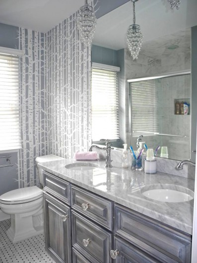A Birch Forest stenciled bathroom. http://www.cuttingedgestencils.com/allover-stencil-birch-forest.html