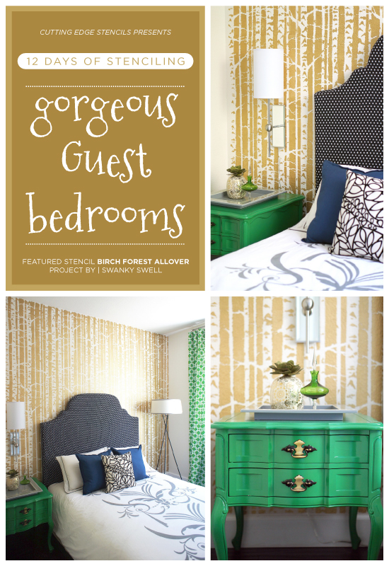 A gold stenciled accent wall in a guest bedroom using the Birch Forest Stencil pattern. http://www.cuttingedgestencils.com/allover-stencil-birch-forest.html