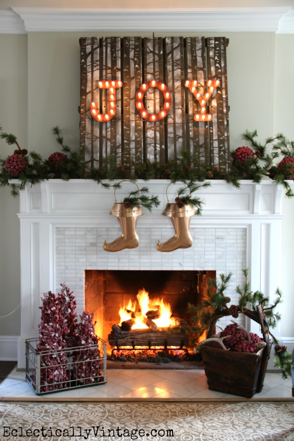 Stenciled wall art for the holidays to brighten the mantel. It's painted with the Birch Forest Stencil. http://www.cuttingedgestencils.com/allover-stencil-birch-forest.html