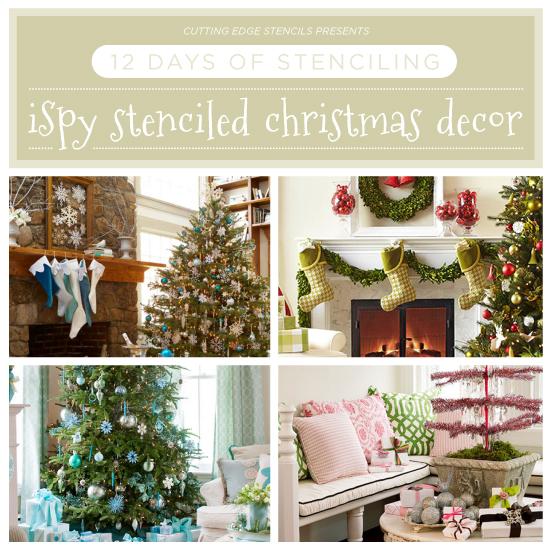 Cutting Edge Stencils shreas DIY stenciled Christmas decor ideas spotted in Better Homes & Gardens. http://www.cuttingedgestencils.com/wall-stencils-stencil-designs.html