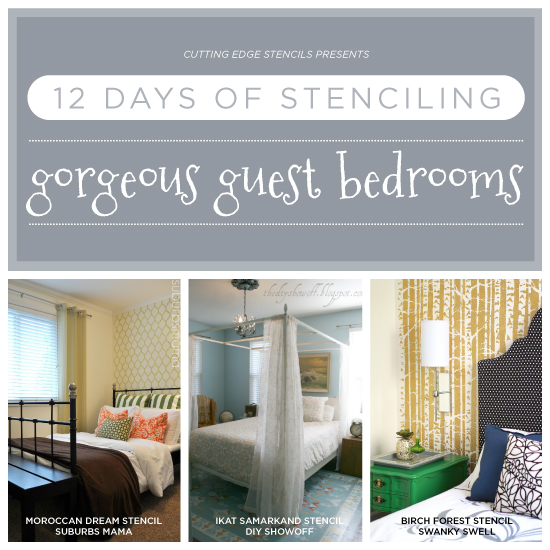 12 Days Of Stenciling Gorgeous Stenciled Guest Bedrooms