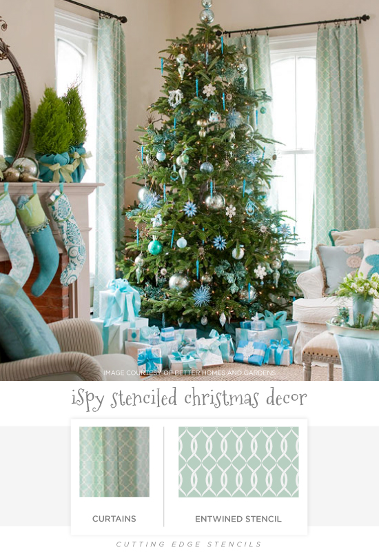Stenciled holiday decor ideas like these Entwined stenciled curtains. http://www.cuttingedgestencils.com/stencil-pattern-2.html