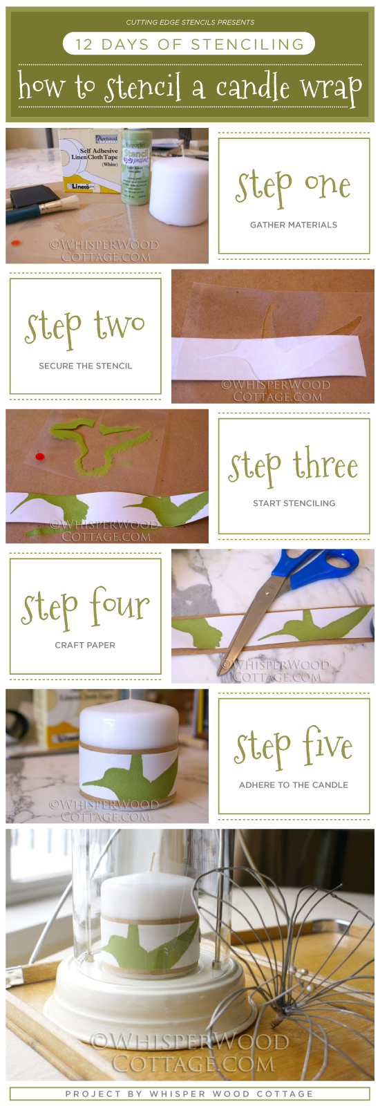 Cutting Edge Stencils shares how to stencil a DIY candle wrap using the Happy Hour bird Pattern. http://www.cuttingedgestencils.com/hummingbird-stencil.html