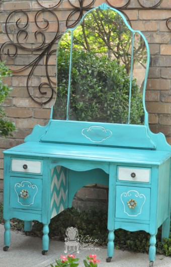 A turquoise stenciled vanity using the Herringbone Stencil pattern from Cutting Edge Stencils. http://www.cuttingedgestencils.com/herringbone-stencil-pattern.html