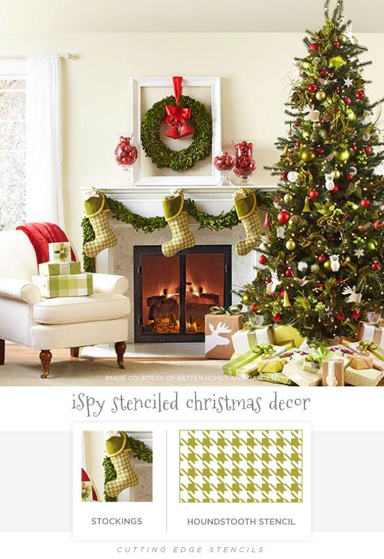 Stenciled holiday decor ideas like this Houndstooth stenciled stocking. http://www.cuttingedgestencils.com/houndstooth-craft-stencil-pattern-DIY-decor.html
