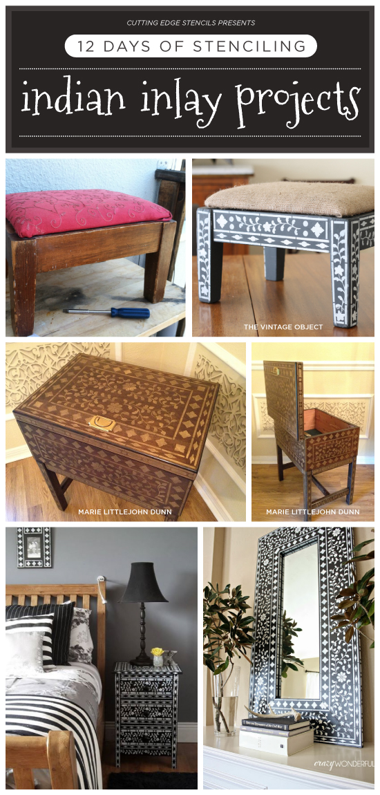 Cutting Edge Stencils shares Indian Inlay stenciled DIY home decor and Holiday gift options. http://www.cuttingedgestencils.com/indian-inlay-stencil-furniture.html