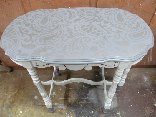 Stencil the Paisley allover stencil in silver on a table top. http://www.cuttingedgestencils.com/paisley-allover-stencil.html