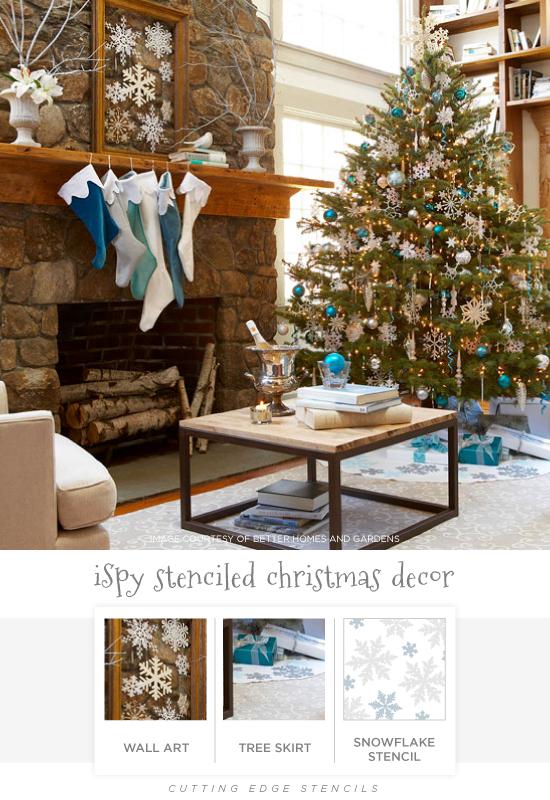 Stenciled holiday decor ideas like this Snowflake stenciled glass wall art and a Snowflake stenciled tree skirt. http://www.cuttingedgestencils.com/snowflake-stencils.html