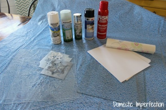 Supplies for stenciling snowflakes on glass for winter craft. http://www.cuttingedgestencils.com/snowflake-stencils.html