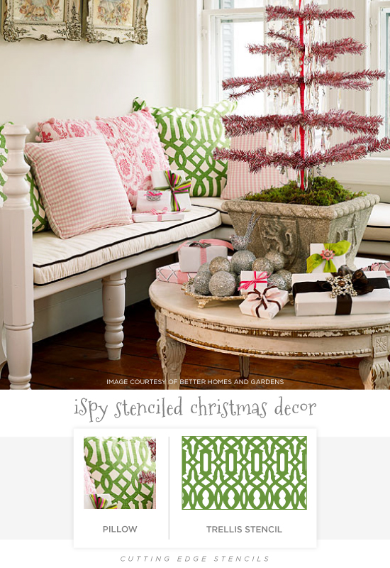 A stenciled pillow idea using the Trellis Allover pattern from Cutting Edge Stencils. http://www.cuttingedgestencils.com/allover-stencil.html