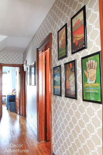 A stenciled hallway makeover using the Heritage Grill Allover from Cutting Edge Stencils. Stenciling a hallway using the Heritage Grill Stencil pattern. http://www.cuttingedgestencils.com/heritage-grill-allover-stencil.html