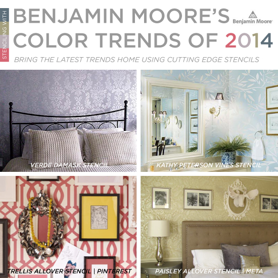 Cutting Edge Stencils is a perfect match for Benjamin Moore's 2014 Color Trends. http://www.cuttingedgestencils.com/wall-stencils-stencil-designs.html