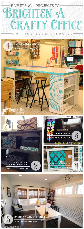 Cutting Edge Stencils shares ideas to help brighten an office or craft space! http://www.cuttingedgestencils.com/wall-stencils-stencil-designs.html
