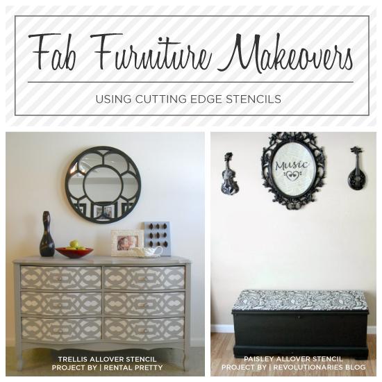 DIY stenciled furniture ideas using Cutting Edge Stencils. http://www.cuttingedgestencils.com/craft-stencils-furniture-stencils.html