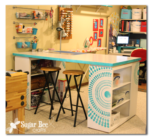 A stenciled craft desk using the Funky Wheel pattern from Cutting Edge Stencils. http://www.cuttingedgestencils.com/funky-wall-stencils.html