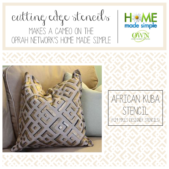 Cutting Edge Stencils shares Kim Myles diy stenciled pillow tutorial. http://www.cuttingedgestencils.com/kuba-stencil-pattern-stencils.html