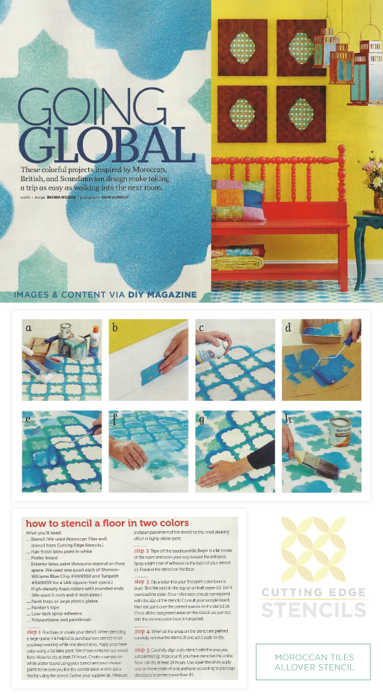 A Stenciled blue floor spotted in DIY Magazine using the Moroccan Tiles Stencil. http://www.cuttingedgestencils.com/moroccan-tiles-wall-pattern.html