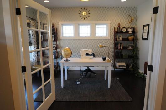 A Zagora Allover Stenciled office.  http://www.cuttingedgestencils.com/trellis-allover-stencil.html