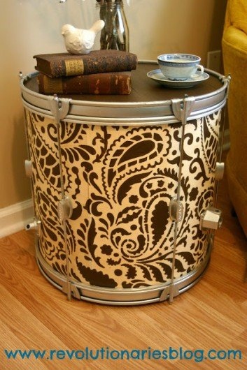 DIY Paisley Allover stenciled drum turned side table. http://www.cuttingedgestencils.com/paisley-allover-stencil.html