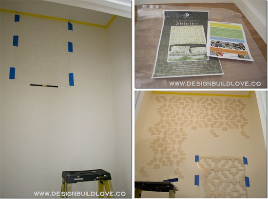 A stenciled pantry using the Shipibo Allover pattern from Cutting Edge Stencils. http://www.benjaminmoore.com/en-us/paint-color/carringtonbeige#ce_s=beige