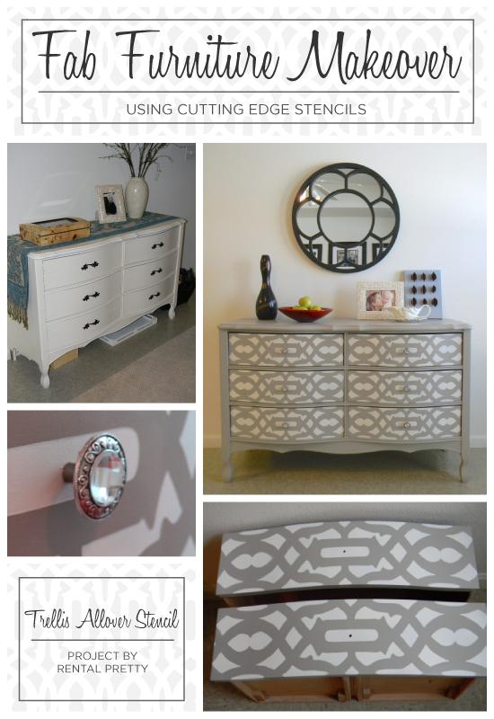 A DIY Trellis Allover painted and stenciled dresser. http://www.cuttingedgestencils.com/allover-stencil.html