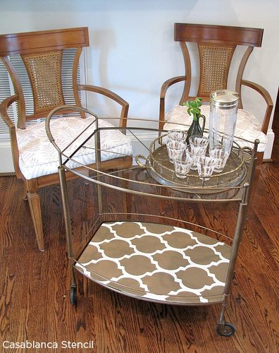 A stenciled wooden tray on a bar cart using the Casablanca Allover Stencil. http://www.cuttingedgestencils.com/allover-stencils.html