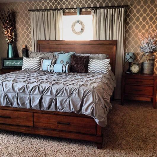 A brown stenciled bedroom using the Rabat Allover pattern. http://www.cuttingedgestencils.com/moroccan-stencil-pattern-3.html