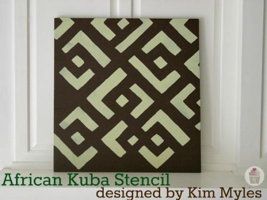Stenciled DIY wall art using the African Kuba Craft Stencil. http://www.cuttingedgestencils.com/kuba-stencil-pattern-stencils.html