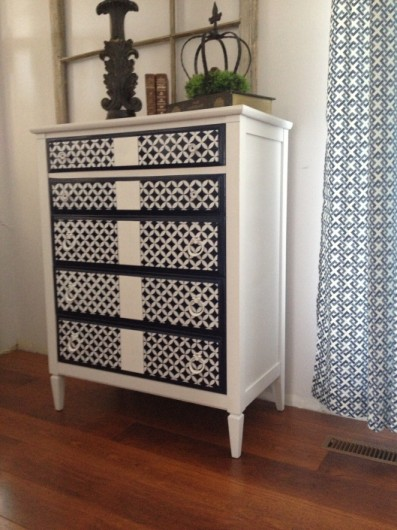 This stenciled dresser uses the Nagoya Craft pattern from Cutting Edge Stencils. http://www.cuttingedgestencils.com/nagoya-furniture-stencil.html
