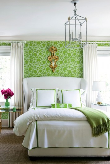 A stenciled accent wall in a green bedroom uses a similar pattern to our Japanese Peony Allover. http://www.cuttingedgestencils.com/japanese-peonies-floral-stencil-pattern.html