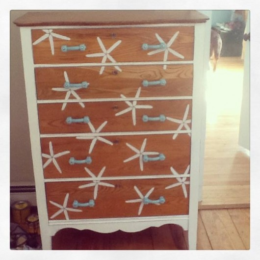 This stenciled dresser was given a makeover using the Starfish Allover pattern from Cutting Edge Stencils. http://www.cuttingedgestencils.com/starfish-stencil-beach-style-decor.html
